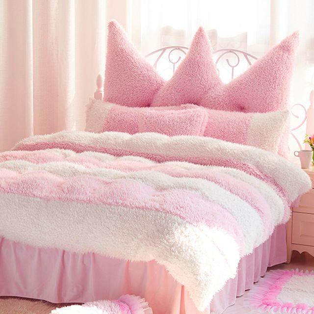 5 PC Queen size plain  dark pink velvet  duvet cover set