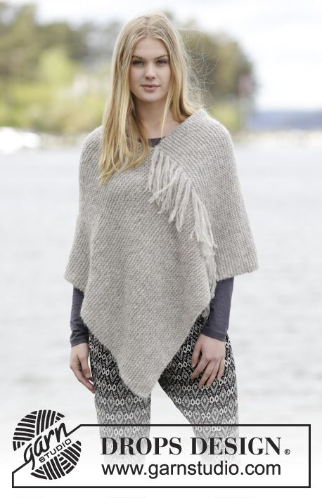 """Lorelei - Knitted DROPS poncho in garter st with fringes in 2 strands """"Brushed Alpaca Silk"""" or 1 strand """"Melody"""". - Free pattern by DROPS Design"""