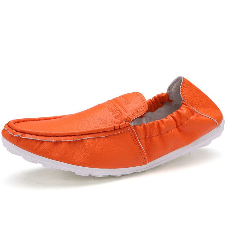 ANBOVER Women's Driving Shoes Casual Leather Flat Loafers Orange 38 R0PkhcP