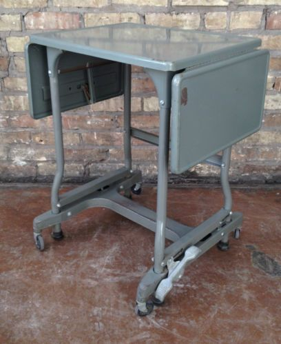 Details About Vintage Industrial Metal Rolling Typewriter Table Stand W Folding Leaves