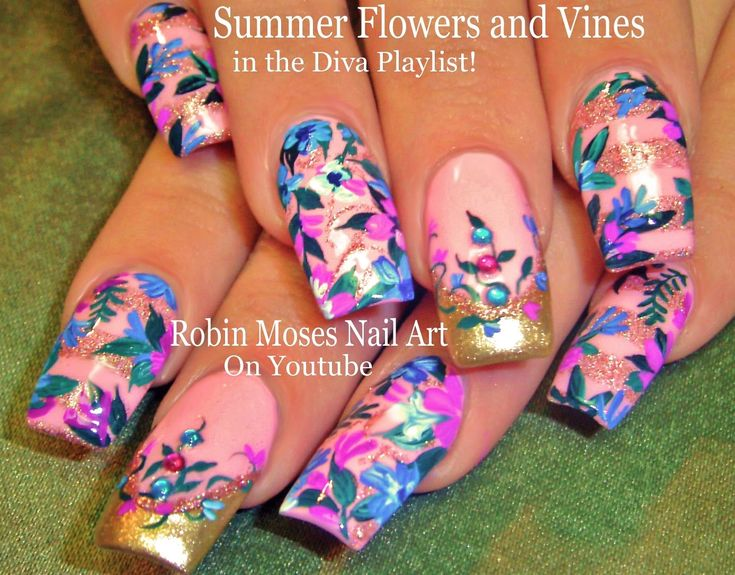 Teal and Pink Flower nails Design Tutorial | Elegant Vintage Diva Nail Art