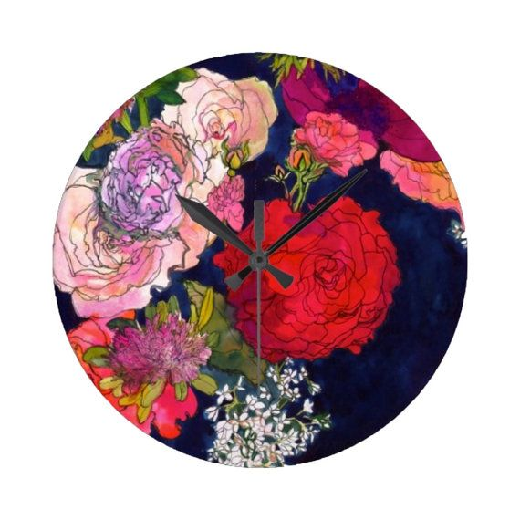 You Promised Me Roses // Circular Wall Clock by MarcellaWylie, £45.00