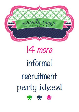 "COB socials can be challenging. If your chapter is looking for themes and activites for your informal requirement, sorority sugar has more ideas to share! It's always helpful to ""do"" something with the PNMs while you're chatting. Time flies when you're having FUN together. <3 BLOG LINK: http://sororitysugar.tumblr.com/post/101213576944/ideas-for-cob-recruitment-parties#notes"