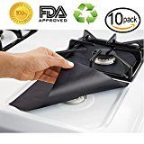 #10: 10-Pack Reusable Gas Stove Burner Covers Non-stick Stovetop Burner Liners Gas Range Protectors for Kitchen- Size 10.6 x 10.6- Double Thickness 0.2mm Cuttable Dishwasher Safe Easy to Clean #FabOffers #FabBestSellers