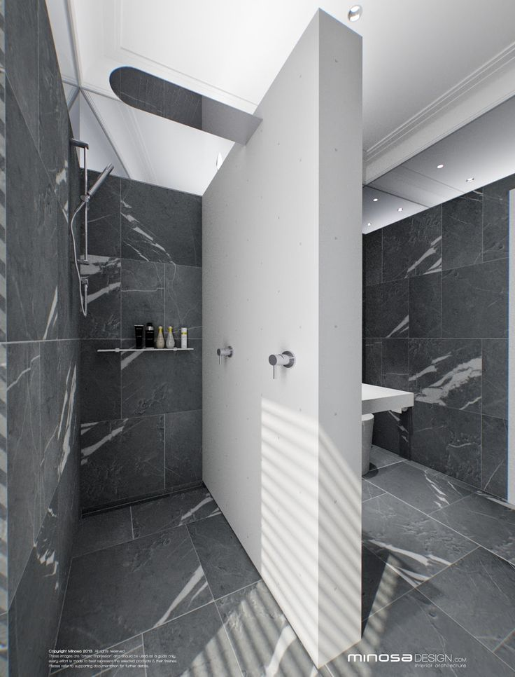 Photo On White and grey luxury bathroom concept by Mimosa design JH What about a design element that conceals rain head plumbing and led up lighting on shower