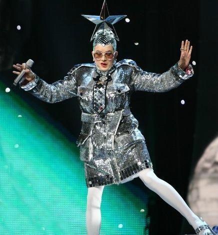 crazy costume....The best Eurovision performance ever! Verka Serduchka of Ukraine in Helsinki 2007.