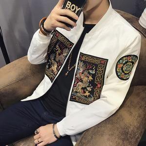 Spring Bomber Jacket Men New Fashion Chinese Long Pao Jackets Men Slim