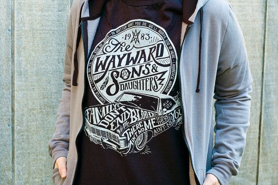 Hey, I found this really awesome Etsy listing at https://www.etsy.com/listing/203647095/supernatural-t-shirt-wayward-sons-and