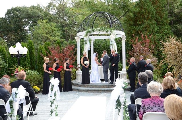 Outdoor Wedding Ceremony At Villa Lombardi's, Holbrook NY