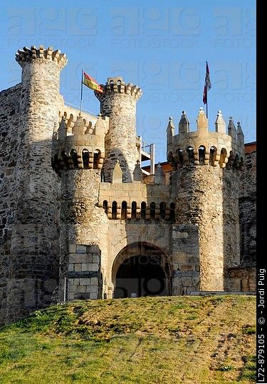 Templar castle, Ponferrada, Way of St James. Leon province, Castilla-Leon, Spain