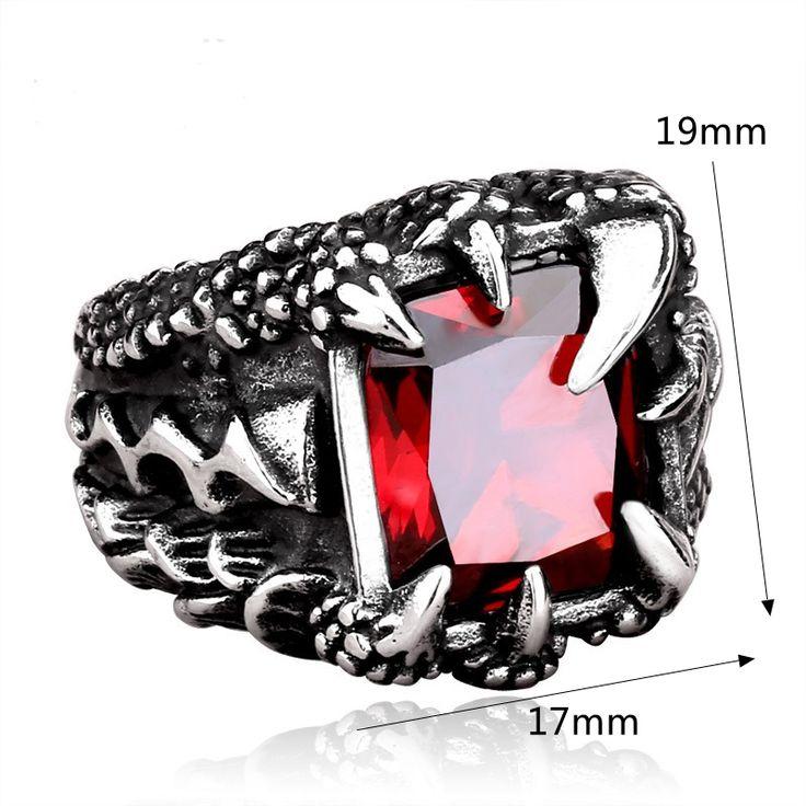 High-quality Men's Dragon Claw Ring Retro Punk Titanium Steel Zirconia Gift - NewChic