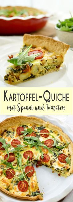 Diese Kartoffel-Quiche mit Spinat und Ziegenkäse könnt Ihr zum Frühstück, Mittagessen oder abends essen. Sie passt immer. Kartoffel-Quiche mit Spinat, Ziegenkäse, Creme Fraiche, Thymian., einfach, gesund, vegetarisch, Rezept, Elle republic