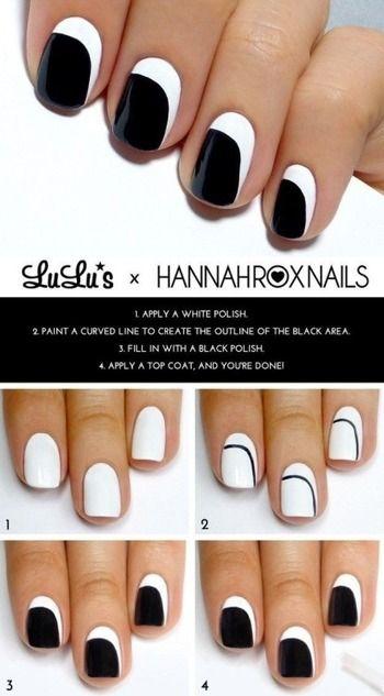 ①白のマニキュアを塗ります。 ②細筆に黒のマニキュアを取り、写真のように線を描いていきます。 ③〜④爪の先端部分を黒のマニキュアで塗りつぶして完成!