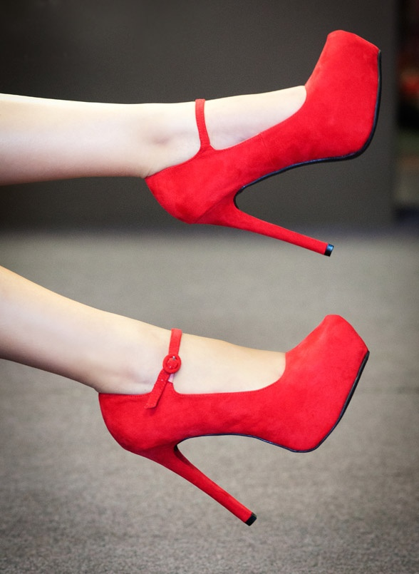 Red Mary Jane Pumps / Qupid - Marquise