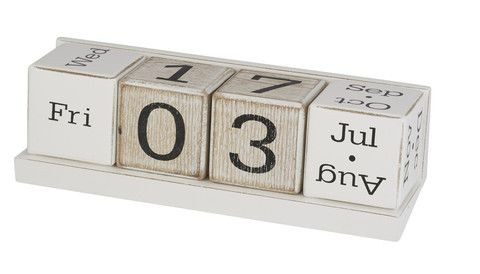 Scandi Timber Block Desk Calendar  7x21cm