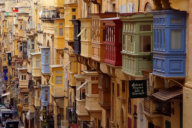 Malta - Valletta. This one crazy little limestone rock in the med.: Spaces, Favorite Places, Malta, Balconies, Valletta, Beautiful Place, Architecture, Travel