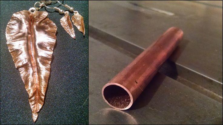 Copper leaf earrings & Pendant - Orecchini e pendente a foglia in rame