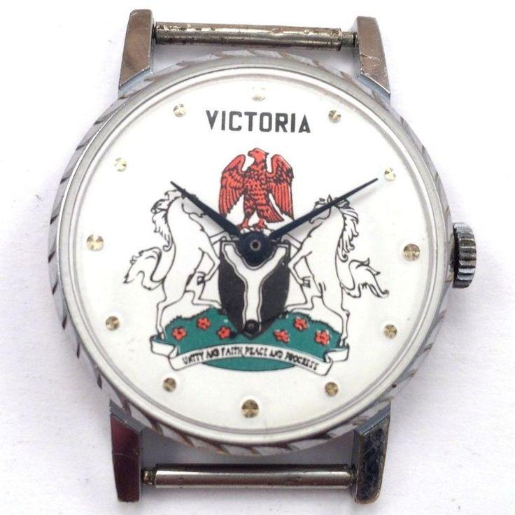 Rare Soviet ZIM POBEDA windup watch Coat of arms of Nigeria *US SELLER* #907 #POBEDA