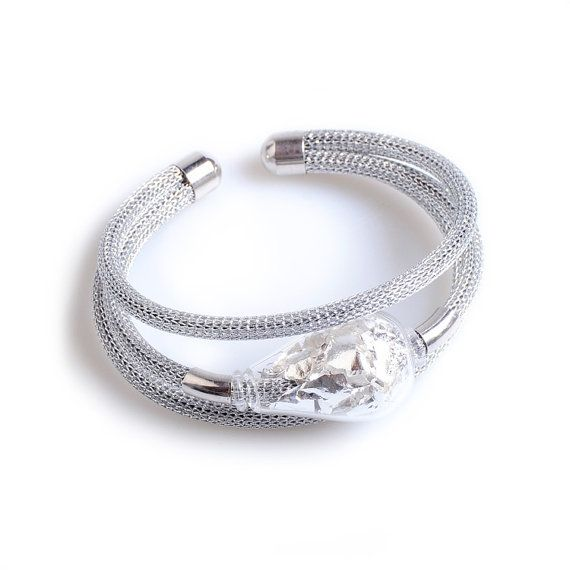 Silver Glass Bracelet  Murano Glass Jewelry  by YourMurano on Etsy