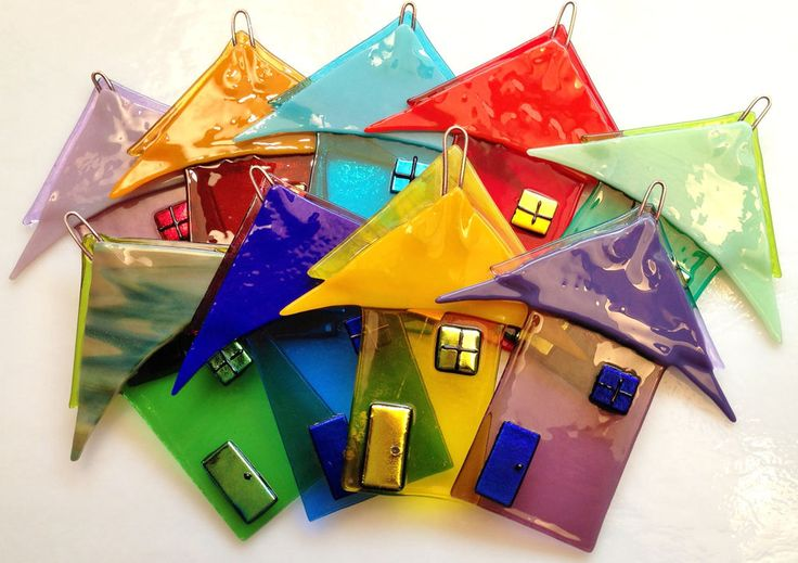 Lot of 9 Fused Art Glass Houses with Dichroic Accents Rainbow of Colors