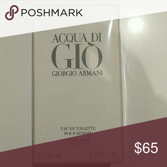 Acqua di Gio Giorgio Armani New. Still wrapped in box. Acqua Di Gio is a classic, sharp aquatic fragrance. This cologne has a blend of citrus, rosemary, spice, jasmine, woods and ocean breezes. Recommended for daytime or evening casual. Giorgio Armani Other