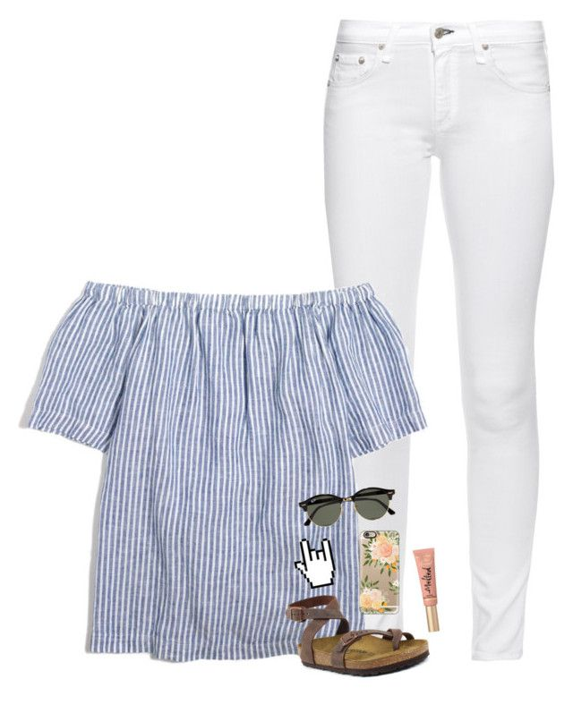 """""""best friend tag w/ @pineapple5415 !!"""" by beingrach ❤ liked on Polyvore featuring rag & bone, J.Crew, Birkenstock, Too Faced Cosmetics, Casetify, Ray-Ban, bathroom and country"""