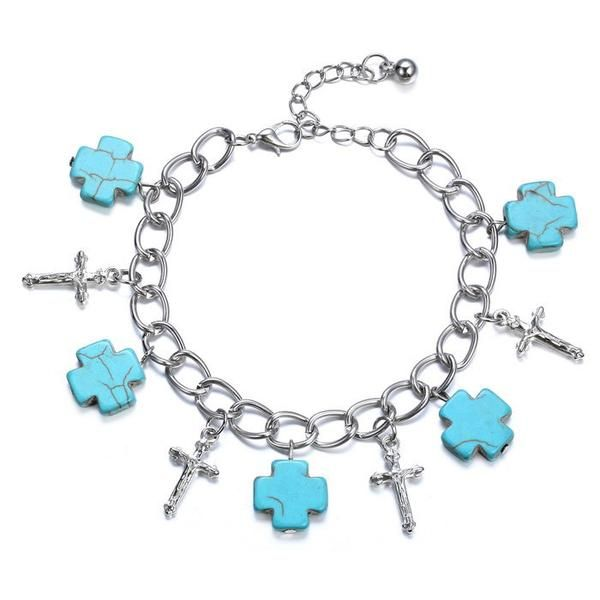 Natural Turquoise Silver Cross Bracelet