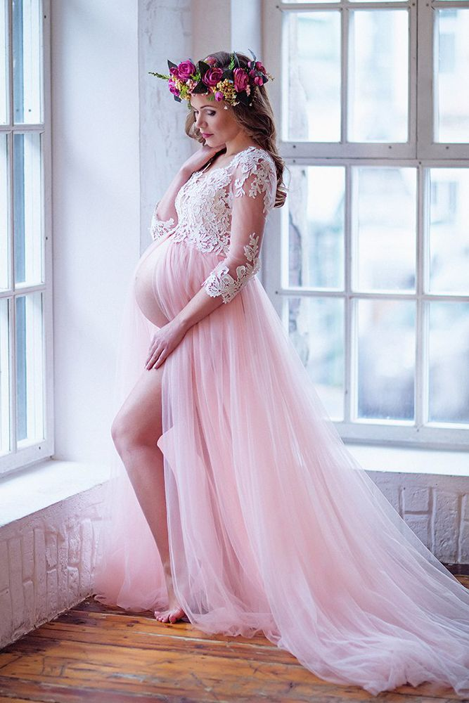 9ee9d0b10b57b Romantic Half Sleeves Pink Long Pregnant Prom Dress | Pregnancy ...