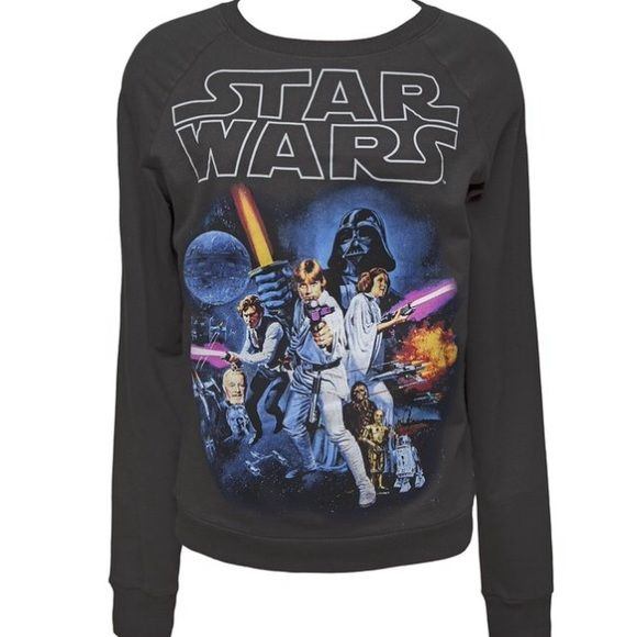 Star Wars Vintage Sweatshirt Black color. Great condition. Vintage logo poster graphic design on front. Crewneck. Lightweight material. Long sleeve. Runs a little big so may also fit a size small. Sweaters
