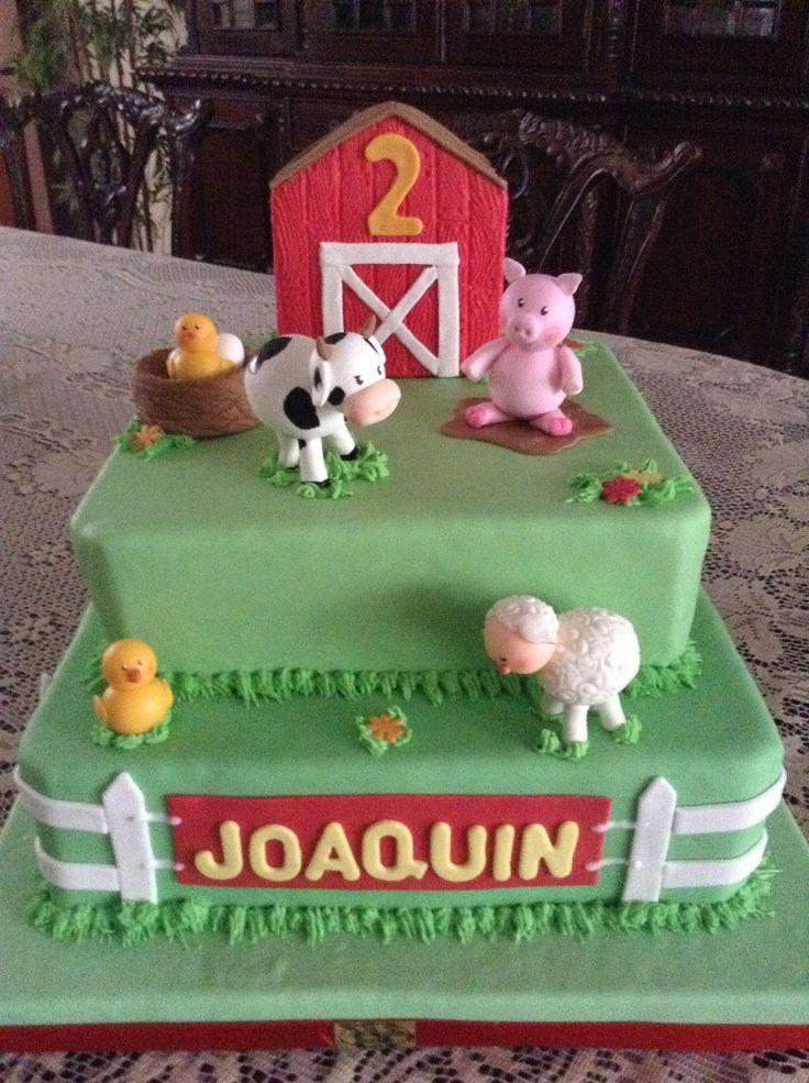 Torta De Cumplea 241 Os Con Animalitos De Granja Modelados En