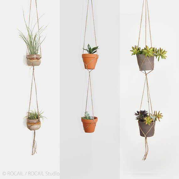 Double minimalist macrame plant hanger for hanging planters