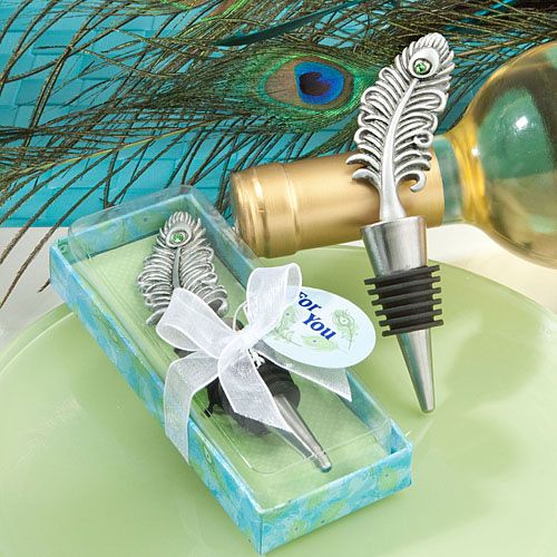 Peacock Wedding Favor Bottle Stoppers (FashionCraft 1949) from Wedding Favors Unlimited.