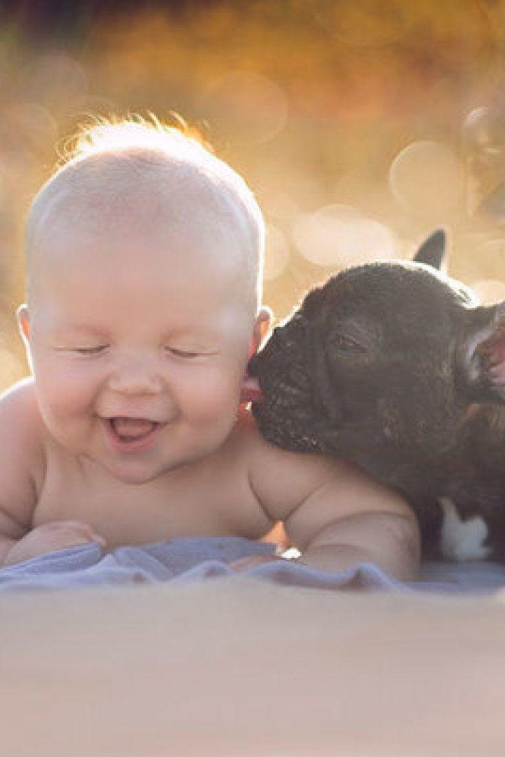 Bebê e bulldog francês nasceram no mesmo dia e são melhores amigos (FOTOS)