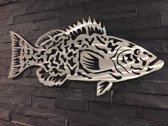 Grouper Wall Hanging Sea Life Art Home Decor Fish Sculpture Etsy In 2020 Metal Fish Wall Art Fish Sculpture Sea Life Art