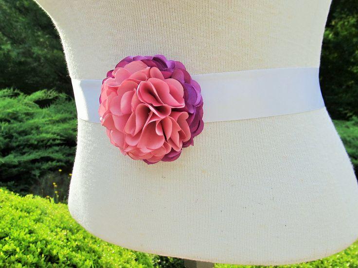 Purple and DustyPink Ombre Satin Flower Bridal Sash/Wedding Sash/Maternity Sash/Flower Girl Sash/Bridesmaid Sash by BROWNIESBOWTIQUE on Etsy