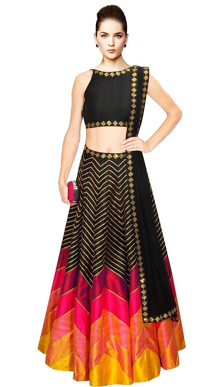 Marvellous Golden Stripes Black Silk Crop Top Lehenga