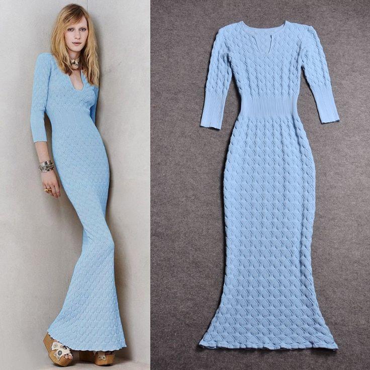 Длинное вязанное платье с рукавами - Taobao
