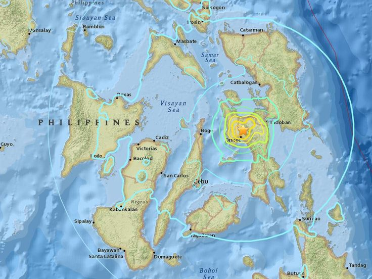 A 6.9-magnitude earthquake has struck southwest of the Philippine city of Tacloban, according to the US Geological Survey (USGS). There were no immediate reports of damage or injury from the quake, which hit at a depth of 41 km (26 miles) about 580 km (360 miles) southwest of the capital, Manila. The USGS has since revised the details of the tremor. The strength was revised down to 6.5 while the depth at which it struck was thought to be 6.5km.