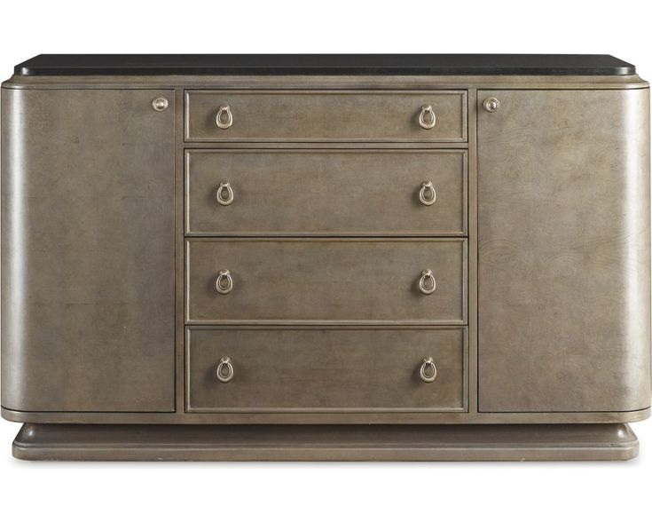 The Etienne Server brings the clean lines of Art Deco styling to life. Its Steel Gray finish enhances the polished black granite. Two doors swing open to reveal adjustable shelves, and four drawers include a silverware tray in the top one.