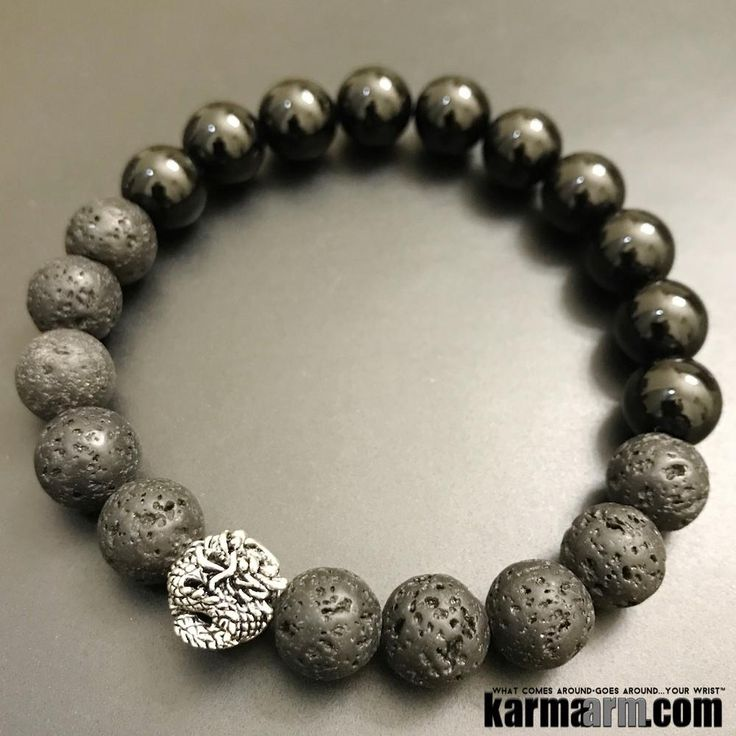Bracelets I Beaded & Charm Yoga Mala I Meditation & Mantra I Spiritual. Black lava onyx dragon.