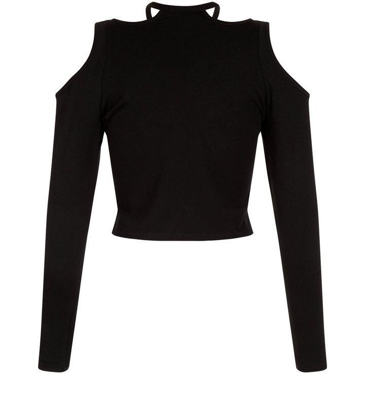 Ados - Top noir à manches longues et épaules dénudées | New Look