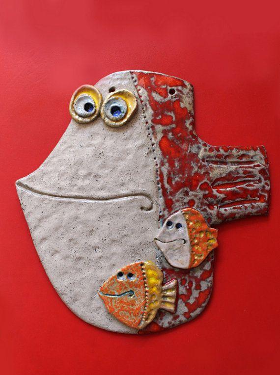 Handmade Pottery Wall Decor  The Fish 3 by dushka on Etsy, $40.00