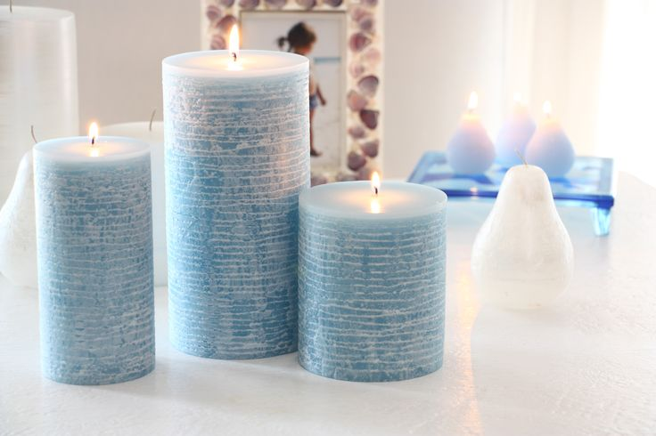 """Brand """"New"""" Spring 2015 #VanceKitira are our Contour Candles- Scented PIllars with a twist. After production, each is put on a lathe and turned, creating detailed surface effects. Comes in 3 sizes & colors Green-Lemongrass, Blue-Ocean, & Pink-Pomegranate scent. www.vancekitira.com"""