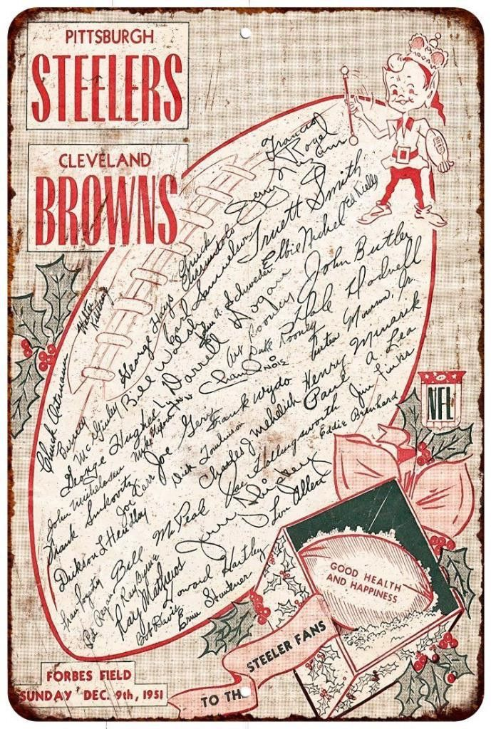 1951 Steelers vs. Browns Vintage Look Reproduction Metal Sign 8x12 8122194