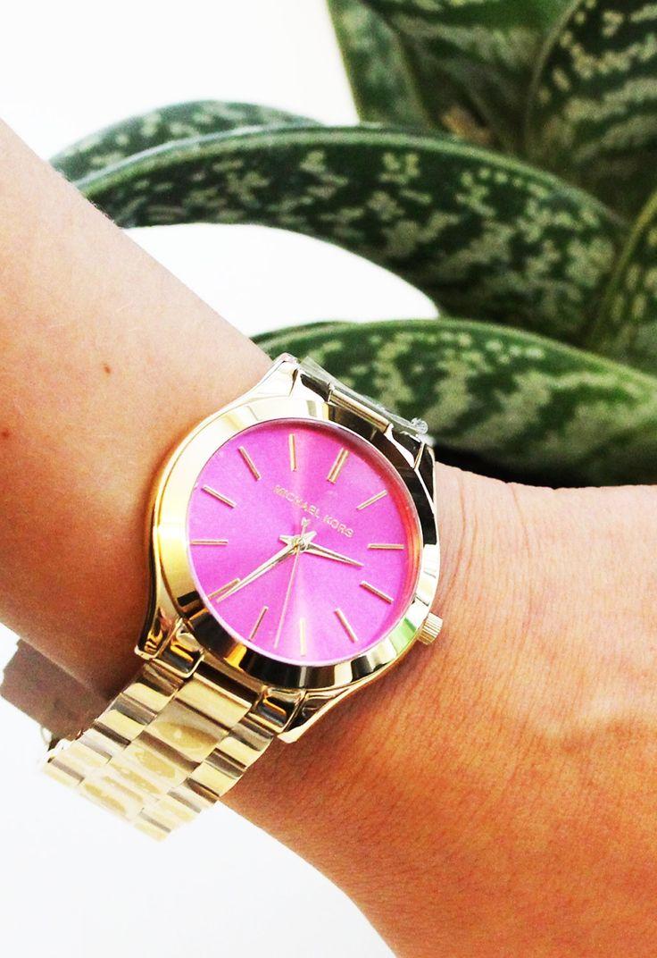 Michael Kors ur i guld med pink urskive - Michael Kors Runway Slim Gold Pink MK3264