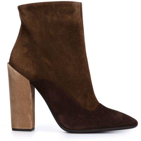 Giambattista Valli chunky heel boots ($1,290) ❤ liked on Polyvore featuring shoes, boots, heels, booties, sapatos, brown, brown shoes, wide heel shoes, thick heel shoes and suede leather boots
