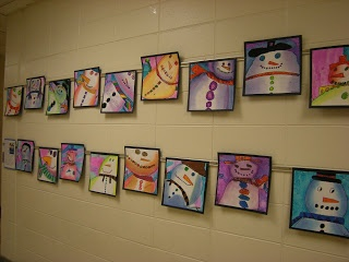 "WHAT'S HAPPENING IN THE ART ROOM??  ""Snowmen""  Lots of snowman lessons out there. . . but this is great.  Inspired b y Snowmen At Night, the students worked on value, analogous colors, cropping and composition.  very cool, indeed!"