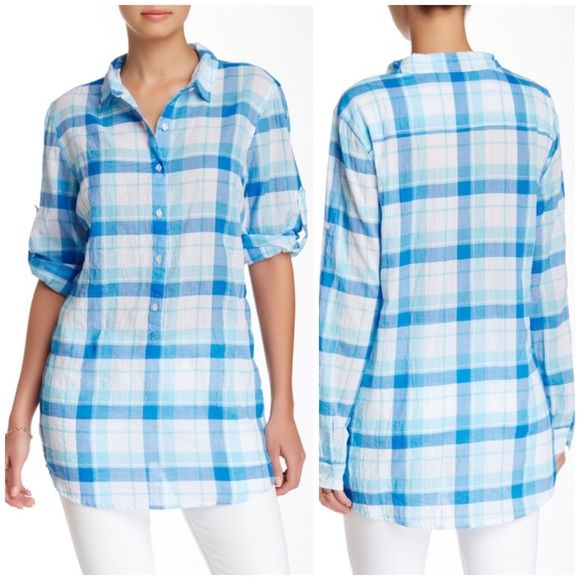 "J. McLaughlin plaid button tunic - Spread collar - Long sleeves - Partial front button closure - Plaid throughout - Approx. 31"" length - Imported Fiber Content: 99% cotton, 1% spandex Care: Machine wash Fit: this style fits true to size.  Bundle for even bigger bigger savings! Offers welcome. No trades. J. McLaughlin Tops Tunics"