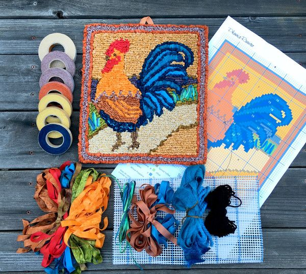 Now shipping: Phoenix Rooster Locker Hooking Kit--includes all  materials--by Theresa Pulido