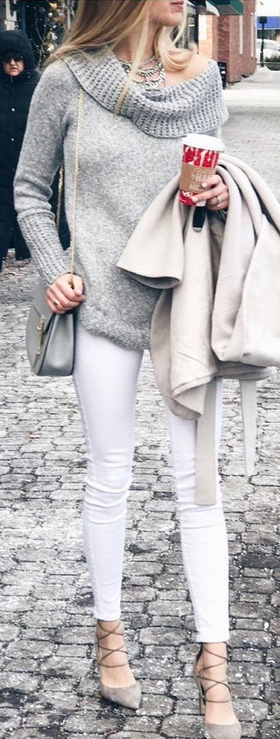 #winter #fashion /  Have You Ever Had White Pants That Show Your Cellulite Through Them?  Not That You Or I Have Cellulite - So I Guess A Hypothetical Question 😜. Well These Don't And They're On Sale Under $30!  My Shoes (also Come In Red) Are On Major Sale For $78 And Since They're Out Of Stock In Some Sizes I Linked Almost The Identical Pair On Sale Under $50.  My Sweater Is In And Out Of Stock So I Linked Two Similar Options (the Gibson One Is So Soft!!). The Necklace Is Perfect To…